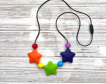 Rainbow Teething Necklace, Toddler Necklace, Child Necklace, Sensory Necklace, Nursing Necklace, Chewelry, Silicone Chewie Necklace, Rainbow