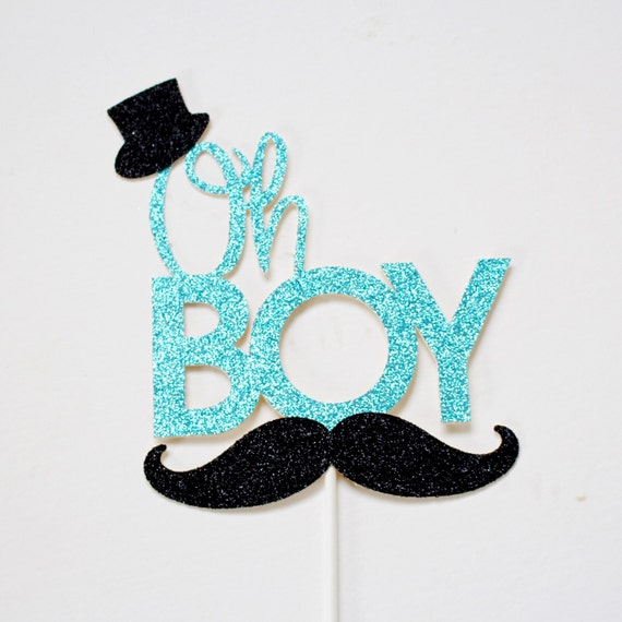 Oh Boy Cake Topper   Little Man Baby Shower   Glitter Cake Topper   Cake  Topper   Baby Cake   Itu0027s A Boy   Mustache Party   Mustache