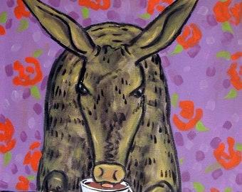 25% off Aardvark at the Coffee Shop Animal Art Print  JSCHMETZ abstract folk art pop art MODERN