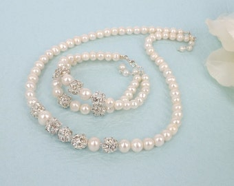 Emilie - Freshwater Pearl and Swarovski Rhinestone Bridal Necklace and Bracelet Set