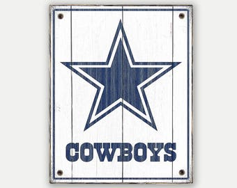 Cowboys sign - Print applied to wood - Cowboys fan gift - Man cave Boys room Sports Bar decor Fathers Day gift for Dad