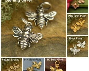 Sterling Silver, Honeybee Charm, Bumblebee Charm, Bee Charm, Silver Bee Charm, Bee Lover Charm, Bee Keeper, Bee Jewelry, Bee Pendant