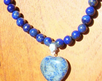 Woman's necklace. Necklace Sterling Silver. Necklace Natural semi-precious stones. LAPISLAZULI necklace with Heart. Jewelry women. Wedding Necklace. Boho