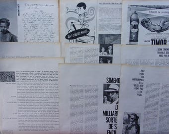 set of 10 pages of magazines vintage 50s/60s advertising - french - REF. 543
