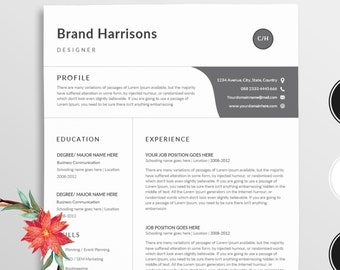Resume/Professional resume template word / Modern Resume template +Cover letter For word / job resume / teacher resume / Word resume