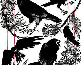 screaming birds: raven and thistle ink print