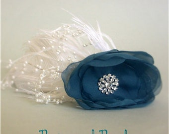 "Teal Blue Floral Bridal Headband Fascinator, Off White Ostrich Feathers, Organza Flower, Pearl, Rhinestone Accents, ""Royal Flair"""