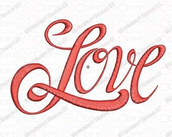 Love Cursive Fancy Script Embroidery Design in 1x1 2x2 3x3 4x4 and 5x5 Sizes
