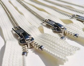 Metal Zippers- 18 inch closed bottom ykk nickel teeth zips- (5) pieces - Vanilla 121- Number 5s