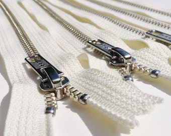 Metal Zippers- 14 inch closed bottom ykk nickel teeth zips- (5) pieces - Off White Cream 099- Number 5s