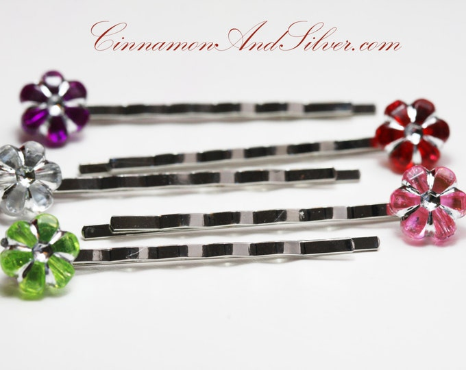 Colorful Flower Bobby Pins, Sparkle Flower Hair Accessories for Girls, Colorful Flower Bobby Pins, Pretty Flower Hair Pins