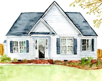 Custom Watercolor House Portrait, Hand-Painted Original Custom House, Custom Home Watercolor, Housewarming gift, Anniversary gift