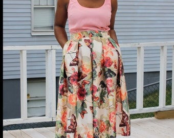 Limited Edition Rose Floral Print Midi Skirt with Pockets