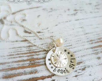Beach Girl Necklace . Beach Jewelry . Sand Dollar Necklace . Stamped Necklace . Beach Jewelry . Sand Dollar . Pearl . Beach Girl
