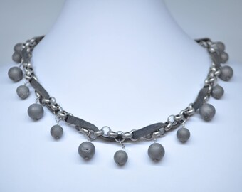 Choker- Gray Druzy Beads
