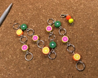 Row Counter - Number Row Counter for knitting - Counts to 100 - polymer clay fruit - chain marker - stitch marker - stitch saver - 11 us