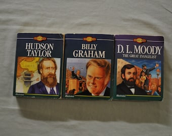 Group of 3 - Young Christian Library Readers - Hudson Taylor, Billy Graham, D L Moody - Lot