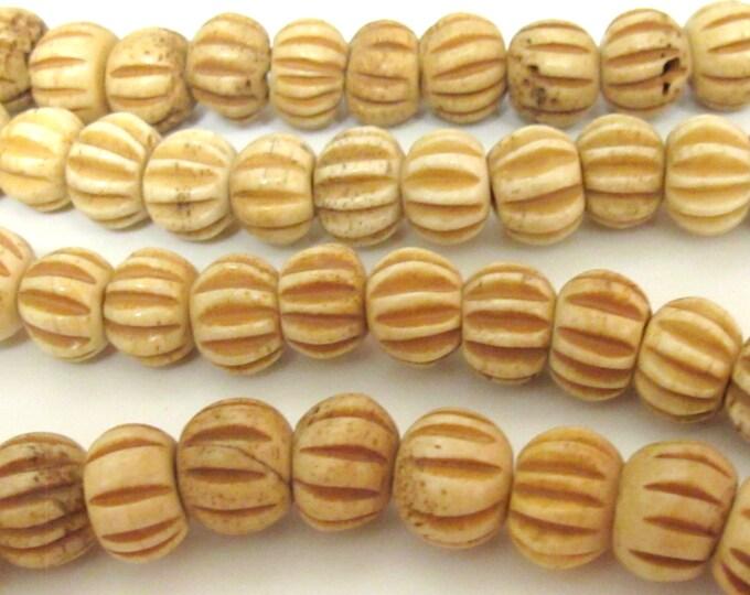 20 BEADS - Carved melon shape Tibetan bone beads supply 12 mm size  - ML026B