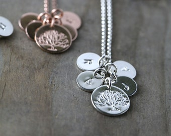Family Tree Initial Necklace, Personalized Gift for Mom for Sister, Custom Hand Stamped Necklace Burnish, Personalized Gift for Women