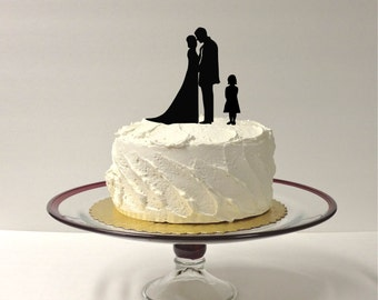 MADE In USA, Bride + Groom + Daughter Silhouette Wedding Cake Topper, Bride Groom + Child Wedding Cake Topper, Family Cake Topper, Daughter