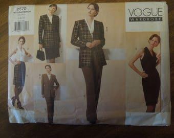 Vogue 2570, sizes 6-10, misses, petite, lined jacket, bias dress, skirt, pants, UNCUT sewing pattern, craft supplies