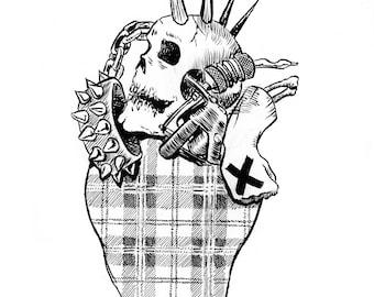 Punk Rawk Heart; art print, heart print, artwork, design, home decor