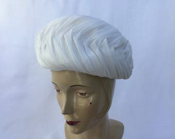 Vintage Toque Hat Pleated Off White Chiffon with Plain Crown - 1960's  #20082