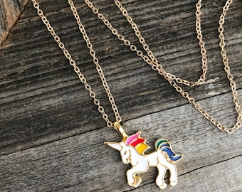Unicorn Necklace -- Gold Necklace -- Colorful Unicorn -- Gold Chain Necklace