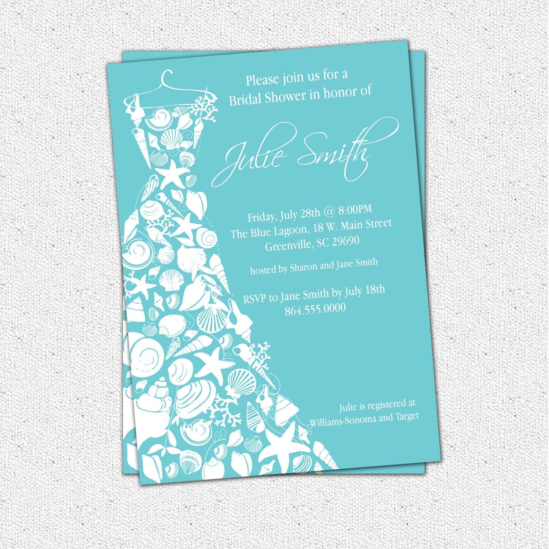 Bridal shower invitation seashell dress elegant sea shell zoom filmwisefo