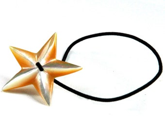 Star Shape Hair Accessory, Mother of Pearl Carved Shell, Decorative Elastic HairBand, Patriotic Star, Summer Hair Accessories