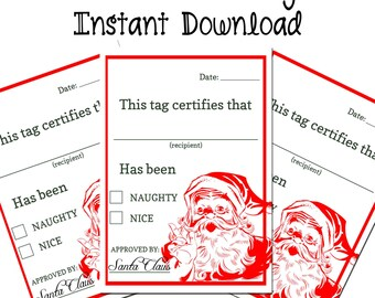 Christmas Printable Gift Tags Instant Download Naughty or Nice