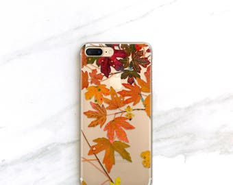 Fall Leaves iPhone 8 Case Clear Foliage iPhone X 6s, 7, Plus, Case Gift For Her, Autumn, Gift Ideas for Thanksgiving Hybrid Case Samsung