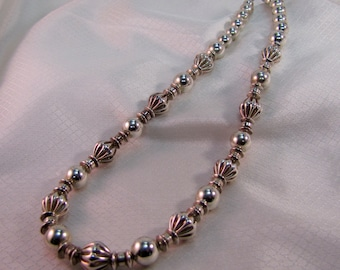 c1950's Southwestern, Navajo Influenced Sterling Beaded Necklace