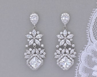 Chandelier Crystal Earrings, Crystal Bridal Earrings, Crystal Chandelier Earrings, White Gold Jewelry, LISA 2