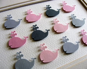 3D Baby Whales in Pinks and Grays or Blues & Grays or YOUR Colour Choices. 5x7 inches. 3D Paper Art. Made to Order