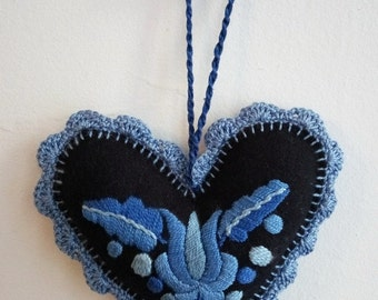 Hand-embroidered blue felt Hungarian, Matyo heart needle pillow