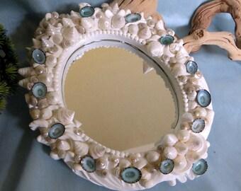 Beach decor mirror_Shabby Chic Coastal mirror_Sea shell mirror_beach housewares,_beach decor_Seashell mirror_mothers day gift