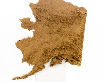 Wooden topographic map of Alaska, 3d map, wood geographic wall art