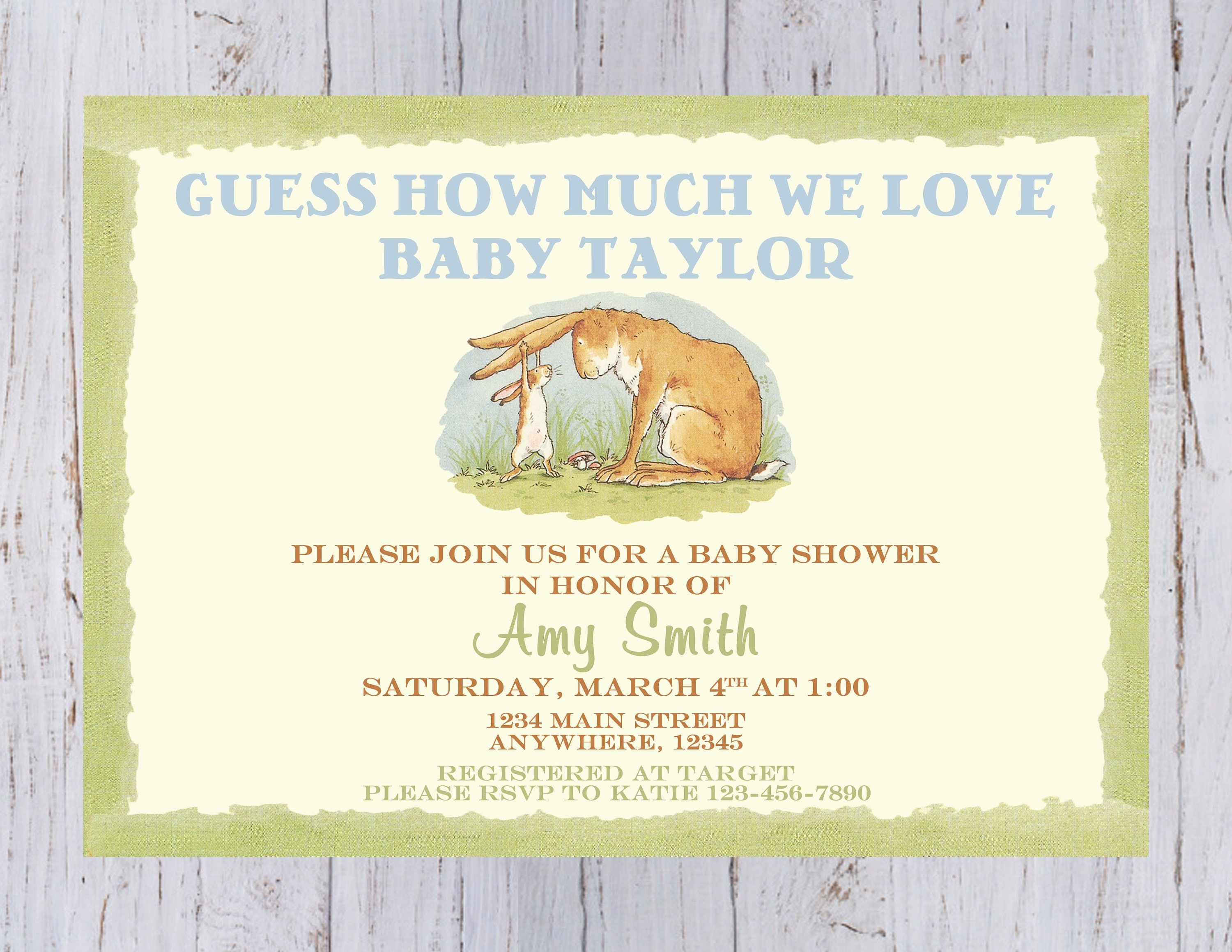 banner bunny baby shower invitations rustic roundedrectangle old girl floral themed spring gallery fashioned