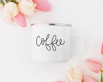 White Camp Style Coffee Mug
