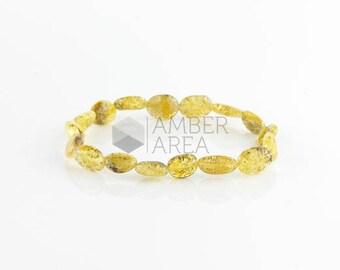 Baltic Amber Bracelet, Green Amber Beads