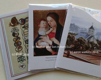 3 blank card cards with envelopes with original Celtic art, Bellini, and original photograph.