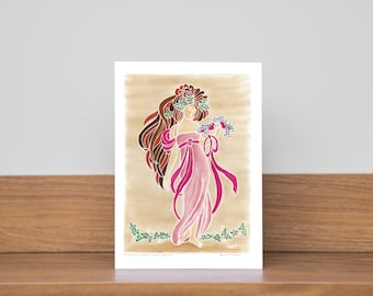 Art Nouveau Card! Birthday card! For her! Pretty card! Any occasion card! Greeting card! Happy card! Special card! Friend card!