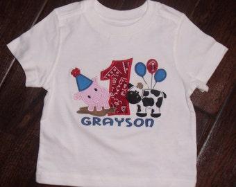 Boys Farm Birthday Shirt, Girls Farm Birthday Shirt, Personalized Birthday Farm Shirt, Embroidered Farm Birthday Shirt