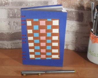 Notebook DIN A6 - Web picture blue / / Blankobuch / / gift / / memories / / friendship