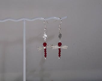 Swarovski Crystal Dragonfly Earrings -  Available in Most Colors - Sterling Silver Wings - Birthstone - Shown with Garnet for January