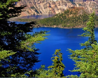 Blue Lake photo, HDR photograph, Blue, green, and brown, fine photography prints, Wizard Island
