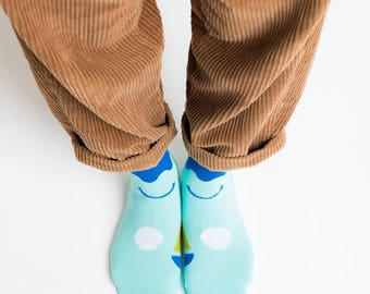 Friendly Socks | Big Face | Blue, Socken, Strümpfe, Gesicht, bunte Socken, Damenstrümpfe, Herrenstrümpfe, Unisex, Hipster, lustig, bunt