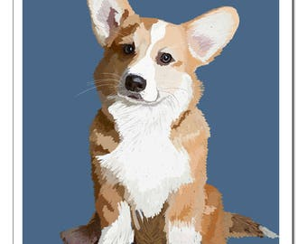 Corgi Dog Illustration-Pop Art Print