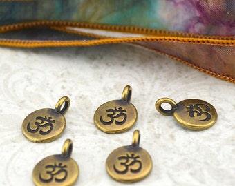 OM Charms, Antique Brass, TierraCast, Om Pendants, Tiny Om Charm Drops, Bronze, Qty 4 to 20, Yoga Meditaton Wrap Bracelet Charms